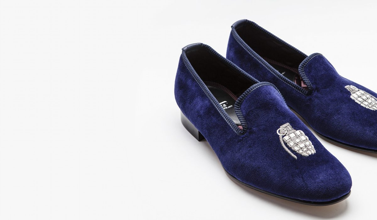 Crockett & Jones for The Rake: The Tribute to The Grenadiers Velvet Slippers