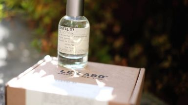 Le Labo's iconic scent 'Santal 33' with personalised 'The Rake' label.